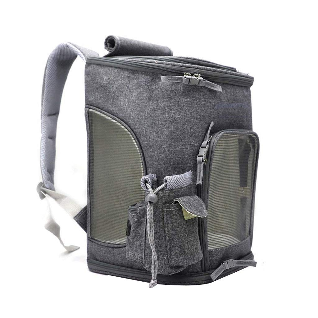 C Dog Carrier Cat Dog Backpack Top Open Mesh Soft Side With Dog Cat Vest Foldable Outdoor Travel Bag 16.9x11x11 Inches