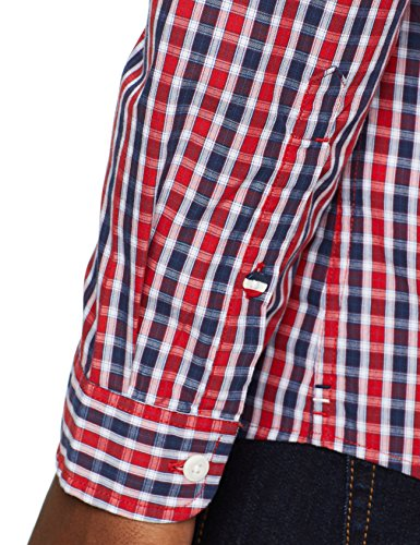 Mini Rouge Casual Homme Chemise Droite Essential samba Tommy 602 Coupe Jeans Manches Check Longues HF4ttY