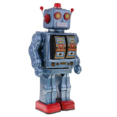 MagiDeal Retro Blue Tin Toy 12'' Electron Robot with Openable Doors on Chest Operated by 2 ''D'' Battery - Walking, Rotating Torso, Sounds : Baby