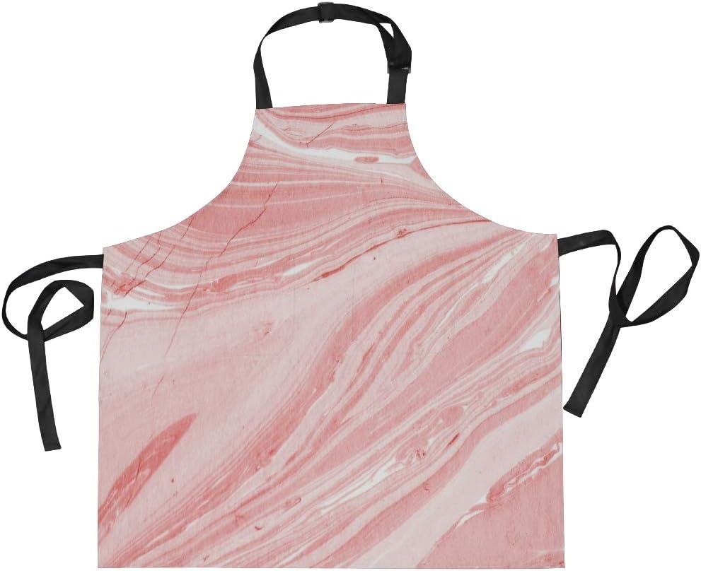 Jeansame Delantal de cocina para mujeres y hombres abstracto de mármol a rayas rosa ola océano mar cocina delantal de cocinar, barbacoa delantal con bolsillos dobles