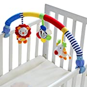 SHILOH Baby Travel Play Arch Stroller Crib Pram Activity Bar with Rattle Squeak (Blue)