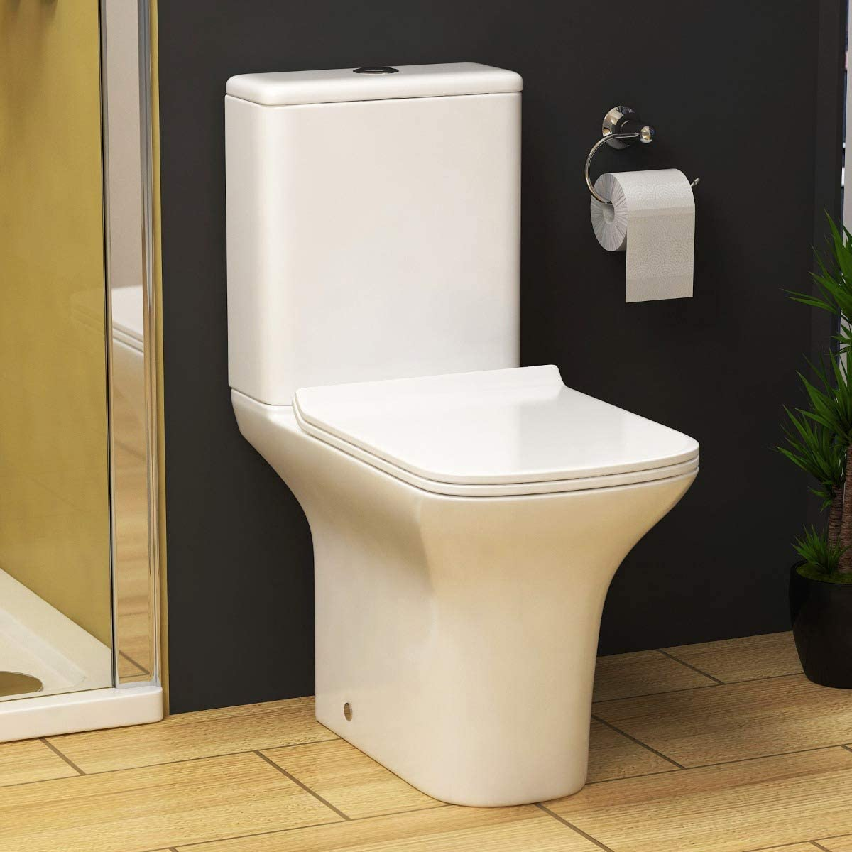 Cube White Close Coupled Rimless Toilet with Cistern Slim Soft Close Seat Bathroom WC - White