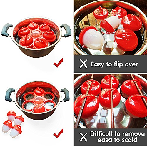 Egg Cooker - Hard Boiled Eggs without the Shell, Eggies AS SEEN ON TV,6 Pack (Free with the Holder) by EEBOX (Image #3)