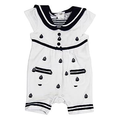 94587720ed342 Baby Girls Boutique Sailor Nautical Boat Design Pique Cotton Romper  White Navy  Amazon.co.uk  Clothing