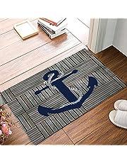 """Blue Nautical Anchor Rustic Old Barn Wood Doormats Non-Slip Indoor/Outdoor/Front Door Mat,23.6""""x15.7"""""""