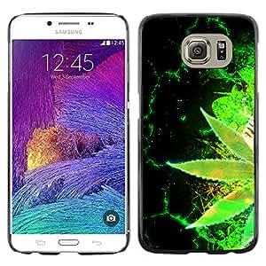 Paccase / Dura PC Caso Funda Carcasa de Protección para - Weed Hemp Green Cannabis Plant Wallpaper - Samsung Galaxy S6 SM-G920