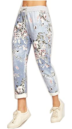 2531b46a2fdf7 Fashion Lovers Womens Ladies Italian Floral Rose Printed Turn Up Trousers  Summer Beach Trouser Pants Denim Jeans  Amazon.co.uk  Clothing