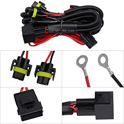 HUIQIAODS H11 880 881 H8 Universal 40A Relay Wiring Harness Kit Fits LED Automotive Fog Light Conversion Assemblies: Automotive