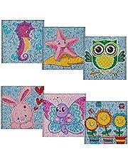 HUBENDMC 6 Pieces Of 5D DIY Children's Diamond Painting Round Diamond Cartoon Animal Series Rhinestone Mosaic Home Decoration Children's Gift(7.08x7.08in) (Style E)