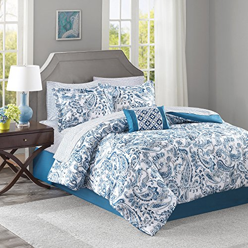 9 Piece Girls Teal Blue Green Paisley Pattern Comforter Cal King Set, Elegant All Over Scrollwork Motif Flowes Theme Bedding, Rich Bohemian Hippie Indie Style, French Country Design, Vibrant Colors by OS