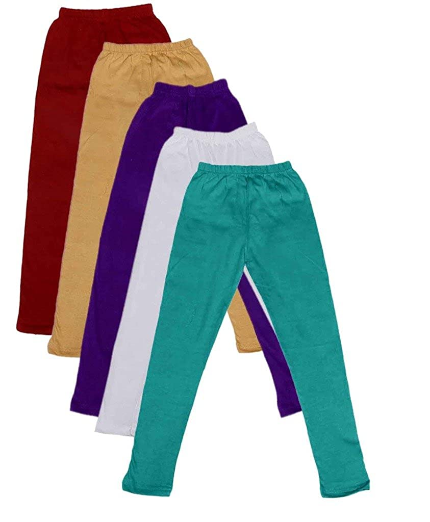 Pack of 5 Indistar Little Girls Cotton Full Ankle Length Solid Leggings -Multiple Colors-1-3 Years