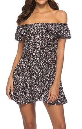 08f9d85fe0 ouxiuli Women s Party Button Down Printed Ruffle Sexy Off Shoulder Mini  Dress Black XS