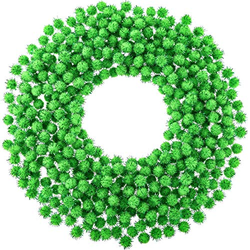 Hestya 500 Pieces 0.5 Inch Christmas Pompoms Glitter Pom Poms for Craft Making and Hobby Supplies (Light Green)
