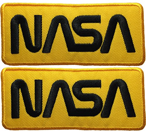 [Set 2 of Nasa Space Shuttle Vector Discovery Agency Houston USA Embroidered Appliques Hat Cap Polo Backpack Clothing Jacket Shirt DIY Sewing Iron On Costume Badge Logo Patch - Yellow] (Diy Aviator Costume)