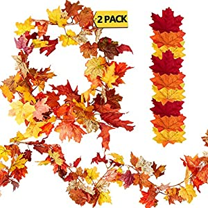 Silk Flower Arrangements 2 Pack 12 Feet Fall Garland with 150 Pieces Assorted Artificial Maple Leaves Mixed Fall Colored Fake Leaves for Thanksgiving Decorations Wedding Events Decor