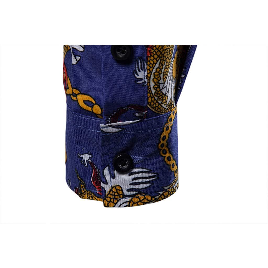 XQXCL Mens National Wind Print Lapel Long Sleeve Tops Beach Holiday Shirts