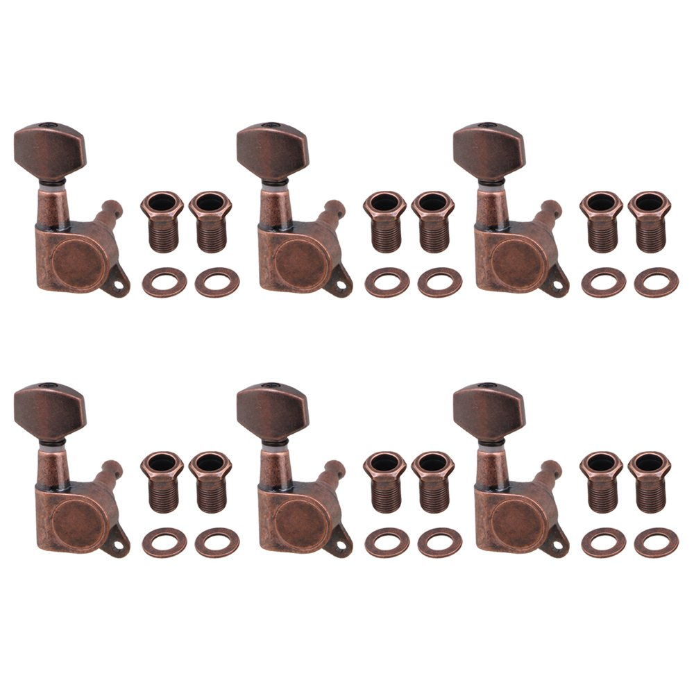 Yibuy 4x3.7cm Bronze Full Closed Tuning Pegs Machine Heads Guitar Tuners Accessories For Electric Guitar Right Hand Parts Pack of 6 etfshop M7170724013