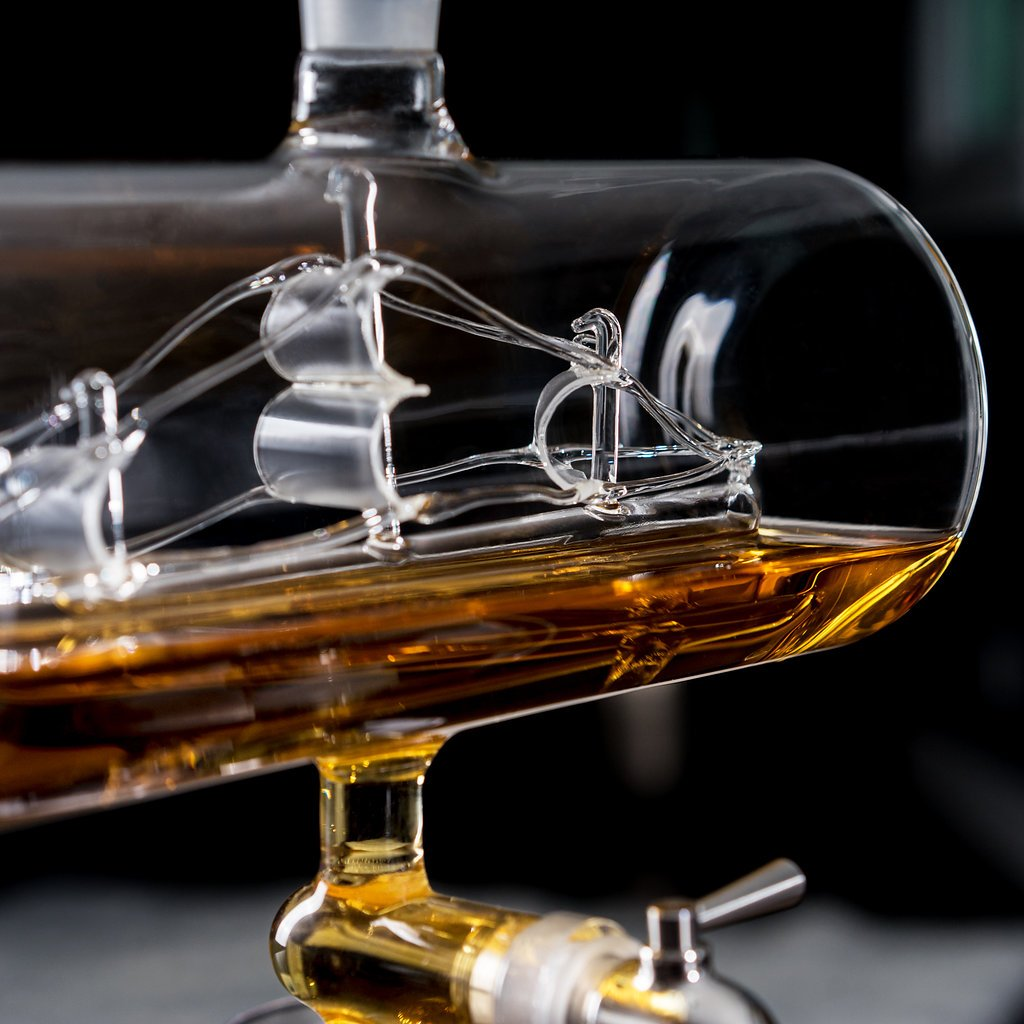 Sailing Ship Whiskey Decanter - Makes a Great Gift! Stainless Steel Spigot Liquor Dispenser - 4 Etched World Map Glasses - for Brandy Tequila Bourbon Scotch Rum -Alcohol Related Gifts for Dad (1000ML) by Royal Decanters (Image #3)