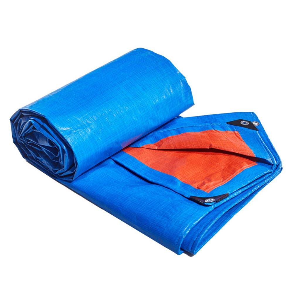 Tarpaulin HUO Plane Wasserdichte Regen Tuch Picknick-Matte Pflanzen Sonnenschutz Auto Shade Schuppen Tuch Staubdicht Wärmedämmung, Blau + Orange (größe   4  4m)