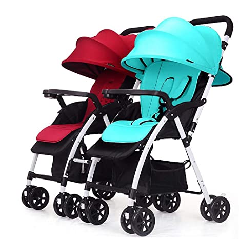 BABY CARRIAGE ZLMI Carrito de Paseo de Gemelos Doble Plegable abatible Trolley Desmontable Adecuado para 0