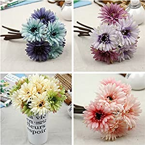African Daisy Artificial Flowers 7 Heads Silk Cloth Flower Bouquet Artificial Plants for Wedding Banquet Living Room Home Decoration Party Christmas Mother's Day Holiday Gift 1