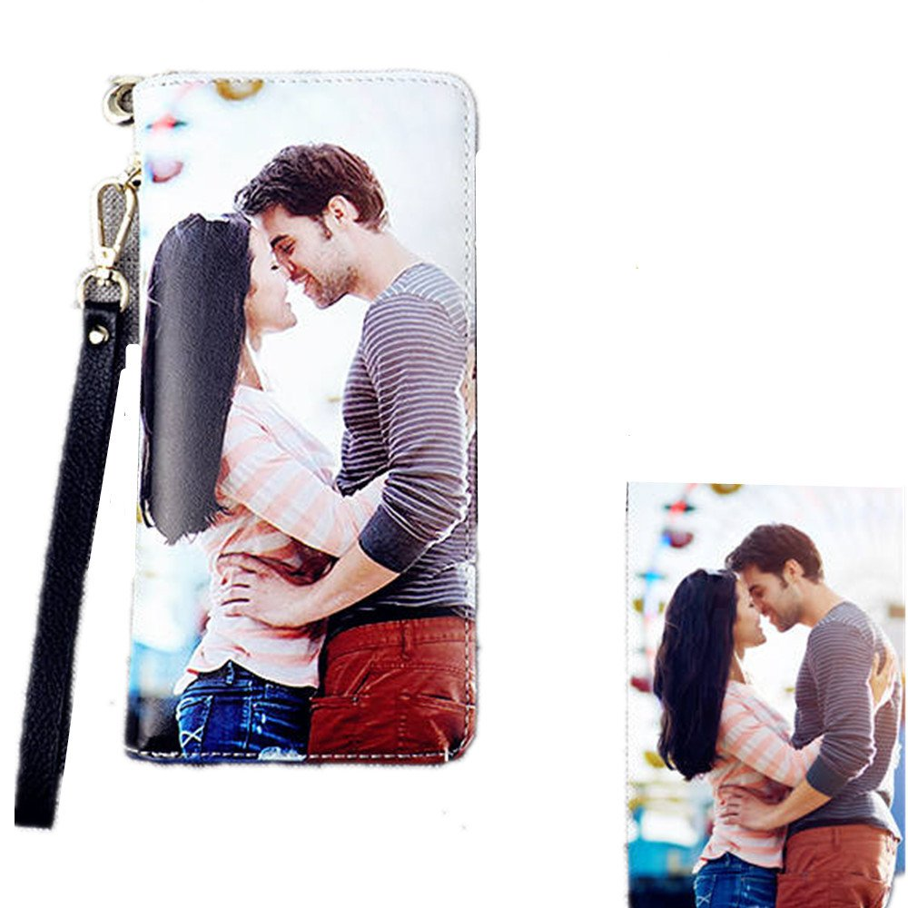 Personalized Photo Top-Grain Leather Wallet Wallets for Women Womens Wallet(Black Double Side)