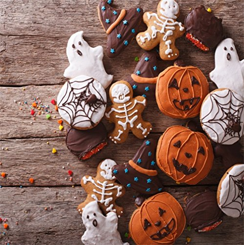 CSFOTO 8x8ft Background for Halloween Gingerbread Pumpkin Closeup Funny Cookies Party Photography Backdrop Dessert Horror Creepy Cake Ghost Sweet Holiday Decor Photo Studio Props Vinyl Wallpaper]()