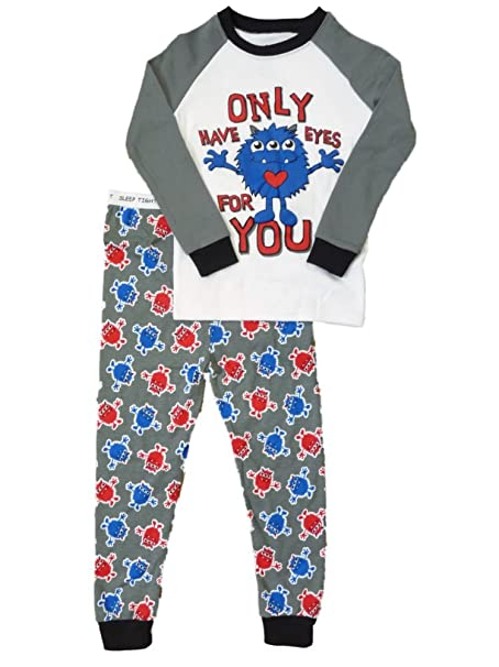 Toddler Boys Gray Only Have Eyes for You Monster Pajamas Sleepwear Set 4T