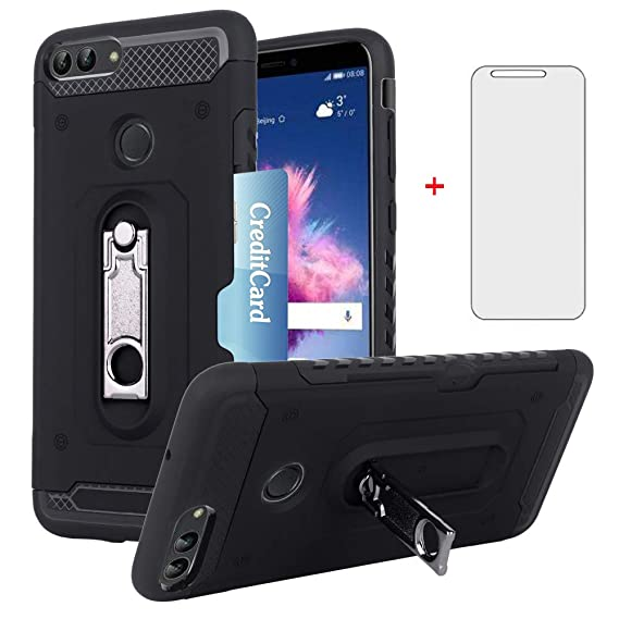 on sale 29cba e8254 Huawei P Smart Wallet Phone Case with Tempered Glass Screen Protector  Credit Card Holder Slot Stand Kickstand Slim Full Body Hybrid Heavy Duty ...