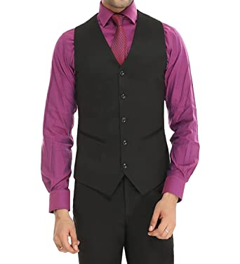 ManQ Menu0027s V.Neck Five Button Slim Fit Formal/Party Waist Coat