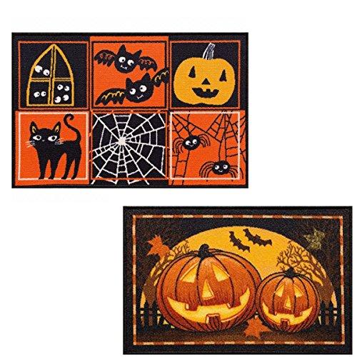 Halloween Rugs (2 Pack Halloween Decor Printed Accent Rugs 20 x 30 Pumpkins Halloween Symbols)