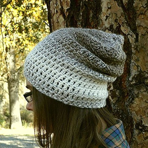 Fade Knit Beanie - Slouchy Beanie Hat Ombre Fade Light Weight Knit Crochet