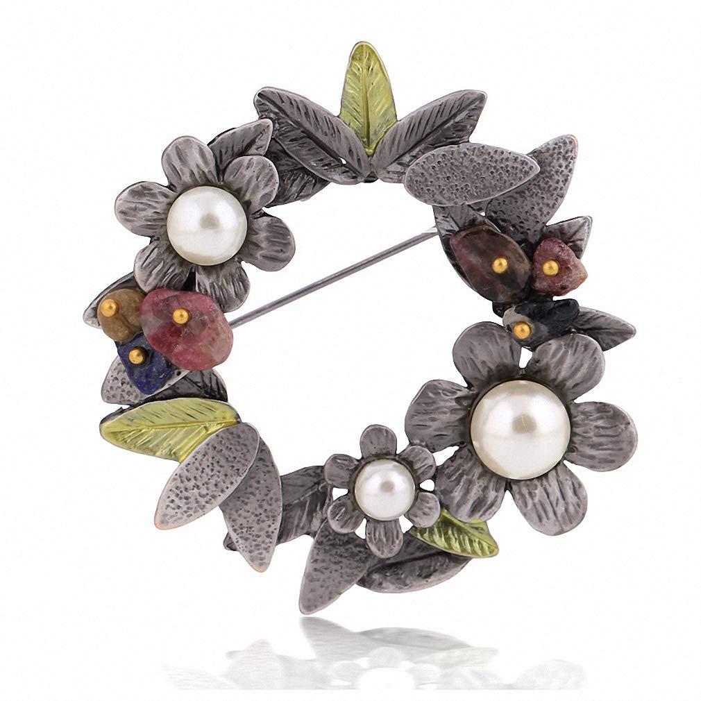 Jana Winkle Bouquet Plant Leaf Women Brooches Enamel Flower Imitation Pearl Brooch Natural Stone Pins Xz0010