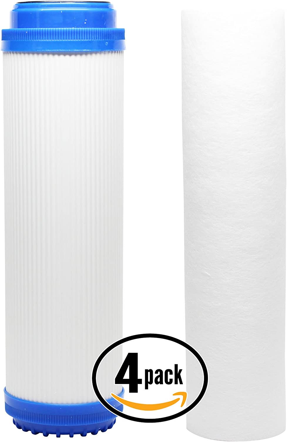 Includes Polypropylene Sediment Filter /& Granular Activated Carbon Filter 4-Pack Replacement Filter Kit Compatible with Aqua Pure AP102T RO System Denali Pure Brand