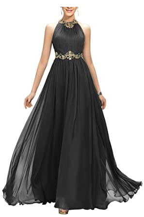 Amazon.com: Ellames Beaded Long Chiffon Bridesmaid Dress Jewel ...