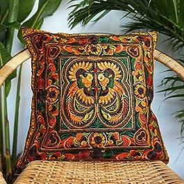 Changnoi Hmong Cushion Cover, Boho Cushion, Bohemian Decor, Embroidered Cushion, Throw Pillow, Colourful Cushion, Bright…