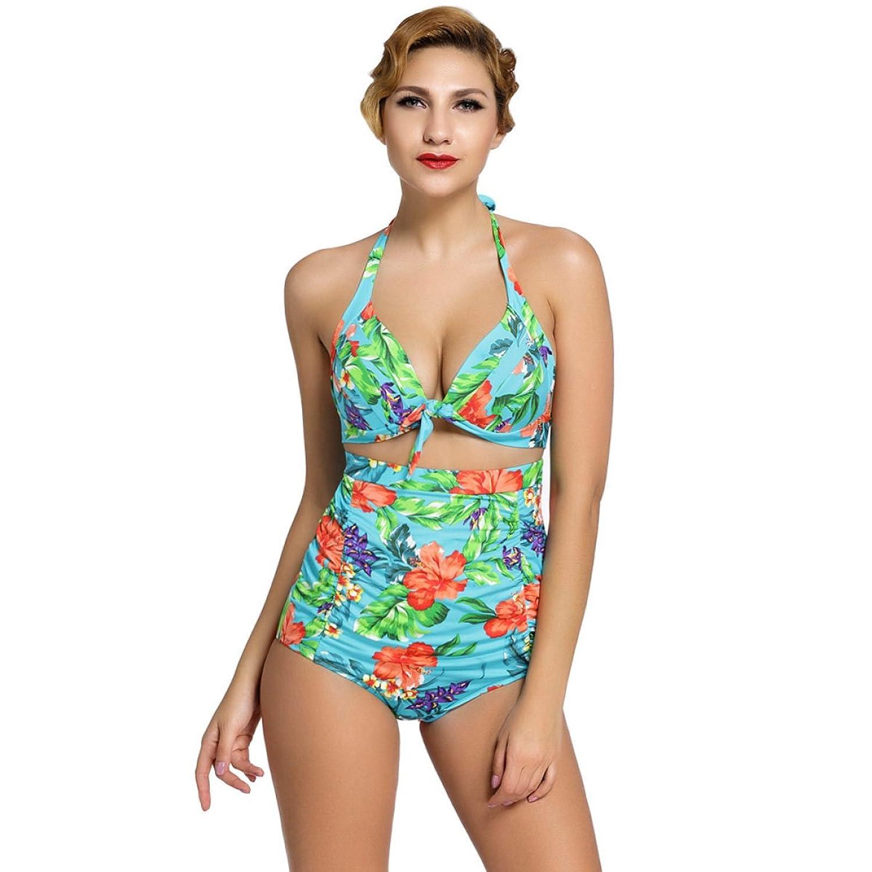 2er-Pack Frauen-Sommer Mode Plus Size Gekräuselte Retro Gedruckt Taille Geteilt Bikini Farbe Optional