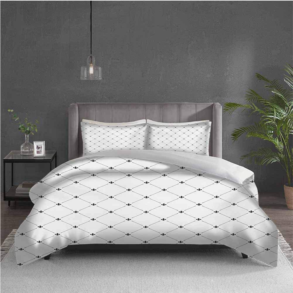 GUUVOR Fleur De Lis 3-Pack (1 Duvet Cover and 2 Pillowcases) Bedding Shabby Chic Style Damask Pattern with Vintage Kitsch Geometric Diamond Lines Polyester (Queen) Black White