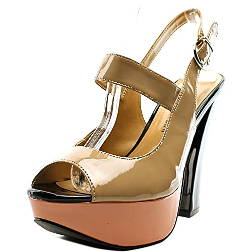 Chinese Laundry Womens Fearless Open Toe Casual Slingback Nude Patent Size 60
