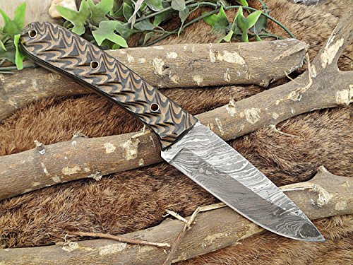 10 Inch Long Hand Forged Damascus Steel Skinning Knife, Black & Yellow Sturl jigged Micarta Wood Scale, Cow Hide Leather Sheath with Belt Inserting Loop ()
