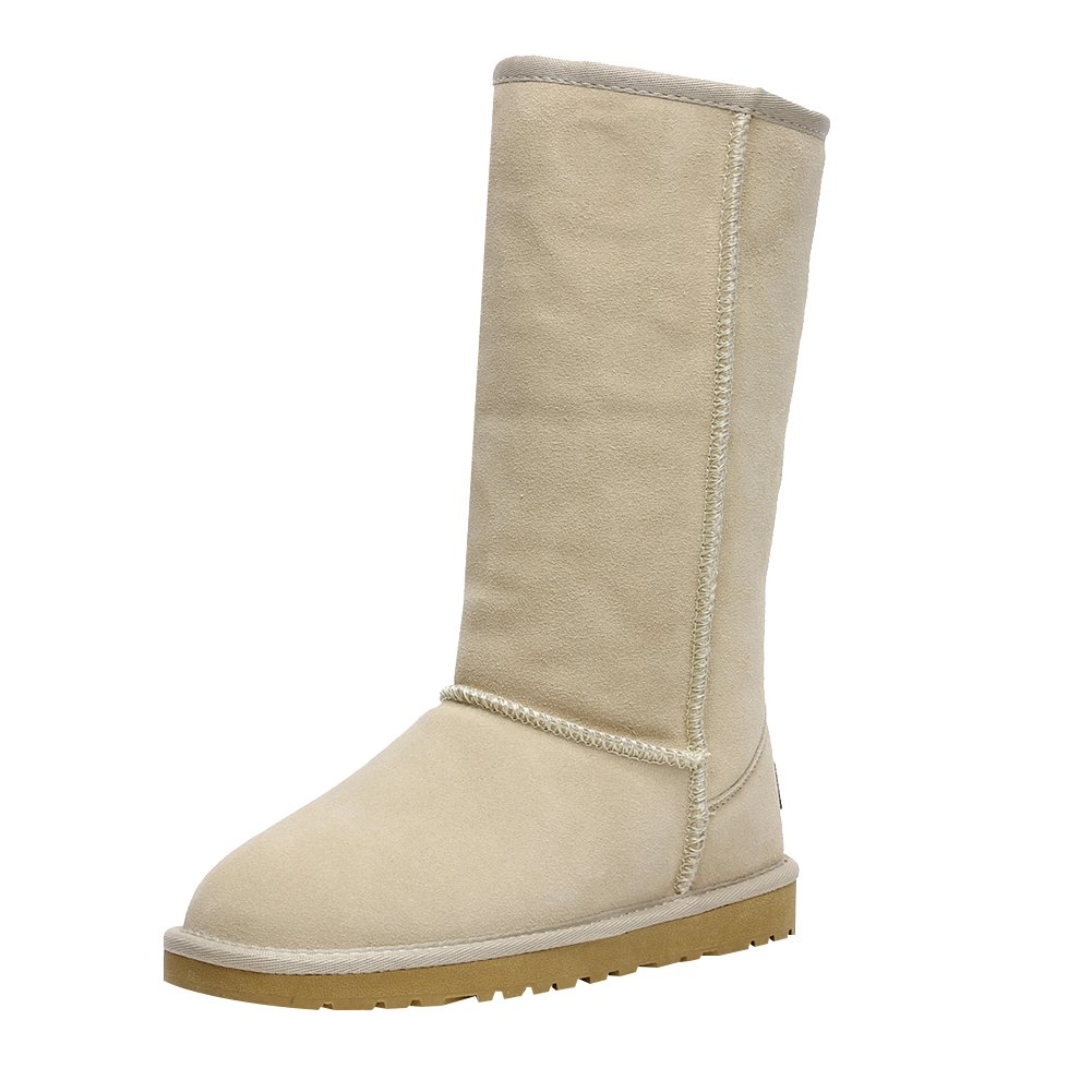 578502519b3a Galleon - Rismart Women Classic Mid-Calf Thermal Suede Snow Boots Thick  Faux Fur Lined Winter Boots Beige SN1015 US5