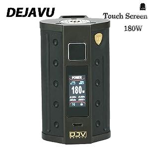 DEJAVU DJV D7 Pantalla táctil de 180 vatios TC Box MOD con GX180 UTC Chip de pantalla táctil y pantalla a color HD Sin batería VS DEJAVU RDTA Sin líquido, sin nicotina (Black)