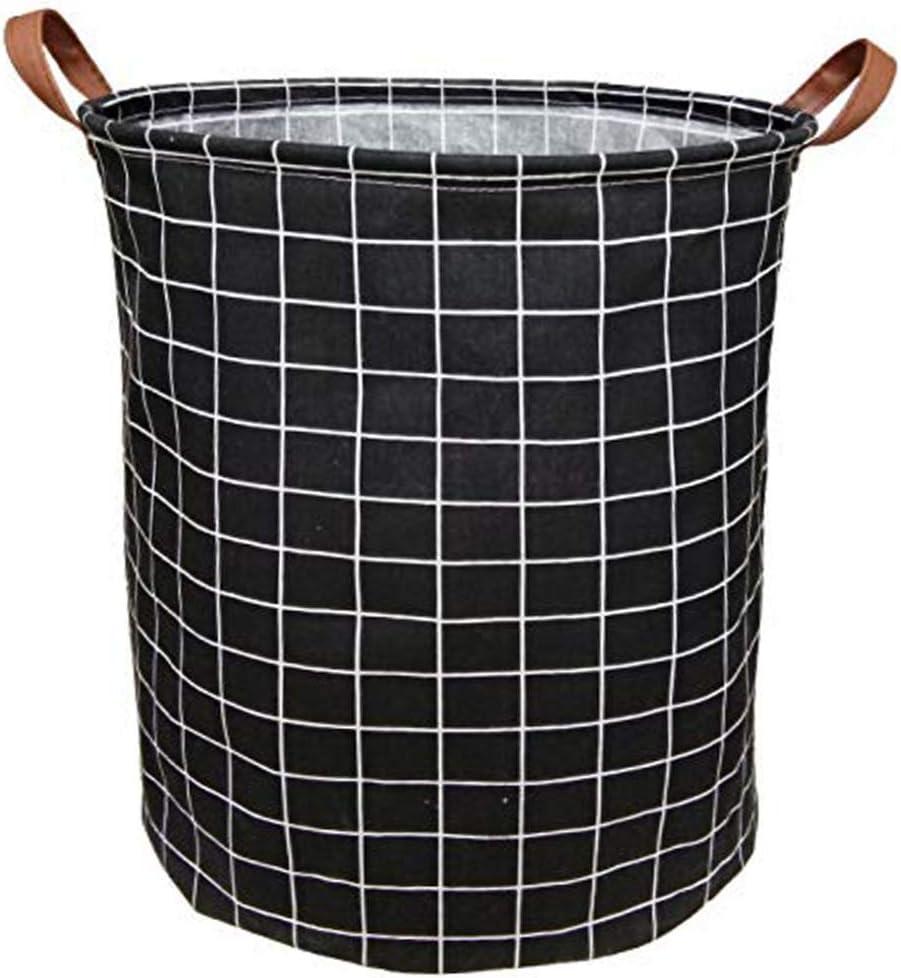 BOOHIT Cotton Fabric Storage Bin,Collapsible Laundry Basket-Waterproof Large Storage Baskets,Toy Organizer,Home Decor(Black Plaid)