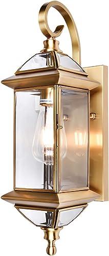 Gaze Outdoor Wall Lights 16.9″H Exterior Wall Lantern,Oil Rubbed Brass Wall Sconce Light Fixture