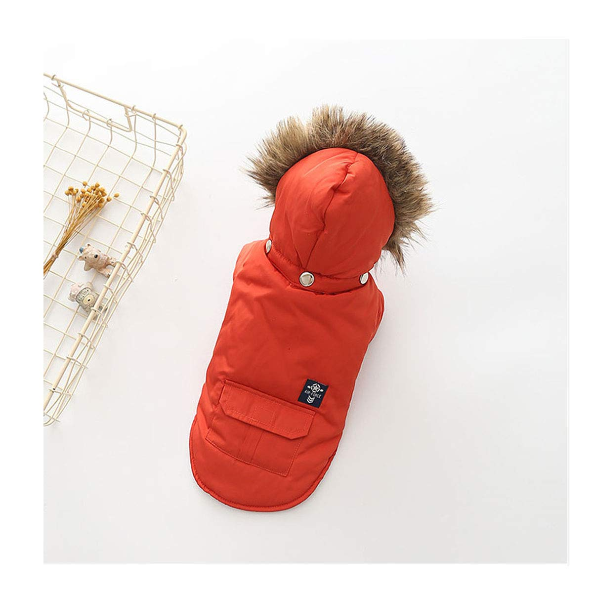 Red M Red M Huijunwenti Dog Clothes, Autumn and Winter with Thick Cotton Coat Teddy Bear Small and Medium Pet Down Jacket Fashion (color   Red, Size   M)
