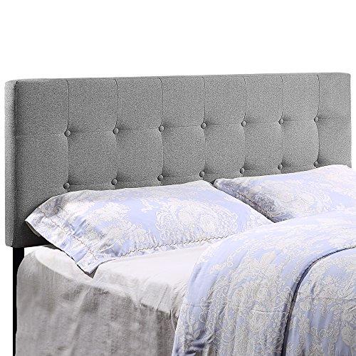 HOME BI Upholstered Tufted Button Linen Fabric Headboard Full/Queen Size, Light Grey