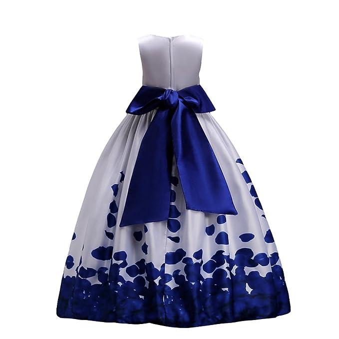 d95b6f8a321c Fiore Ragazze Estivo Abito Principessa Pageant Vestito da Cerimonia per la  Damigella Floreale Matrimonio Carnevale Blu