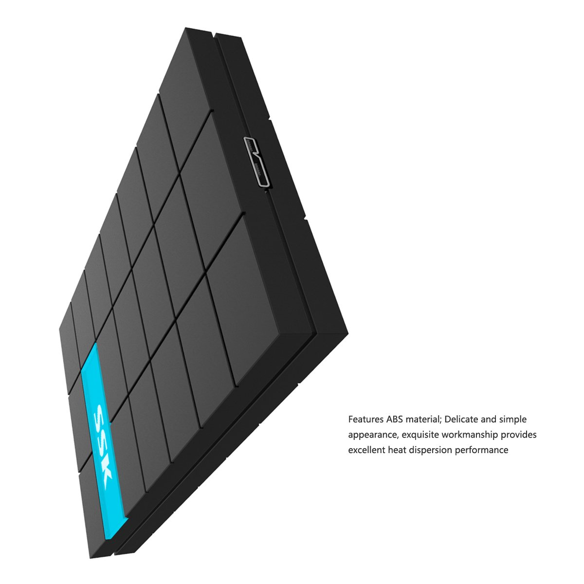 SSK SHE080 Portable USB 3.0 SATA Hard Drive Disk External Enclosure For 9.5mm 7mm 2.5'' HDD And SSD (Black) by SSK (Image #4)