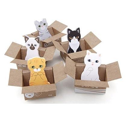 Affe 5pcs Mini Cute Cartoon Kawaii Gatos y Perros Memo Pad Caja Notas Adhesivas para Niños