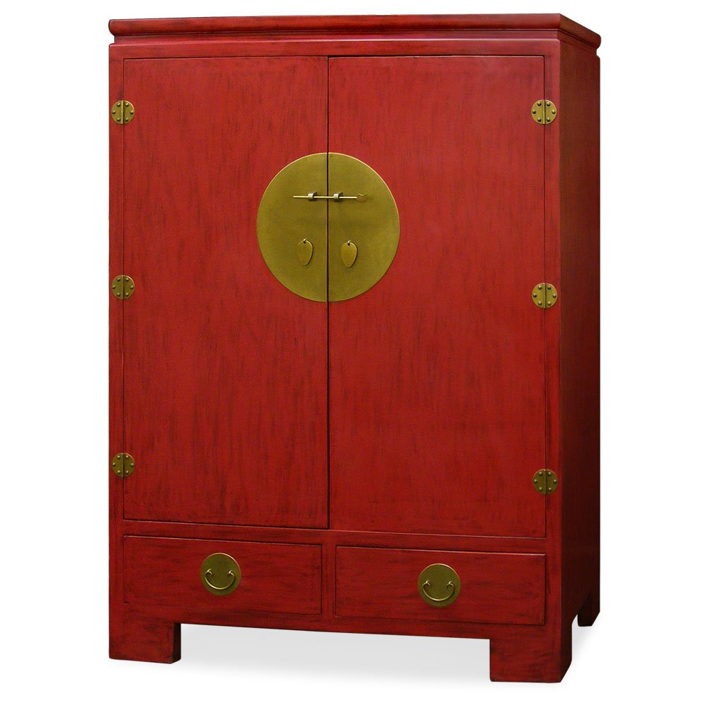 China Furniture Online Elmwood TV Armoire, Ming Style Distressed Red